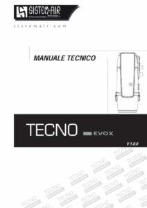 foto copertina manuale tecnico centrale aspirante Tecno Evox