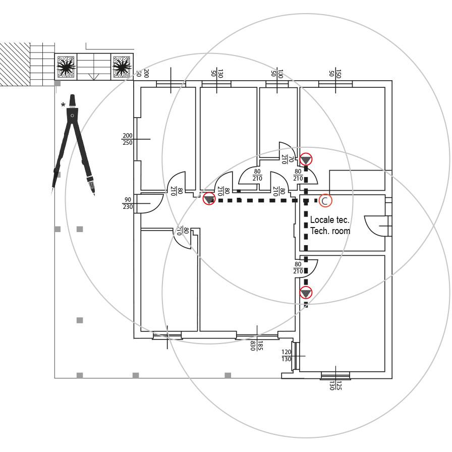 piantina con progetto di esempio di impianto di sistema centralizzato